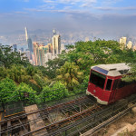 The Victoria Peak Tram and Hong Kong city skyline