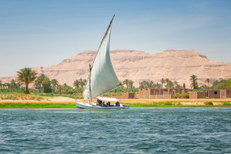 Falukas on the Nile river in Luxor, Egypt